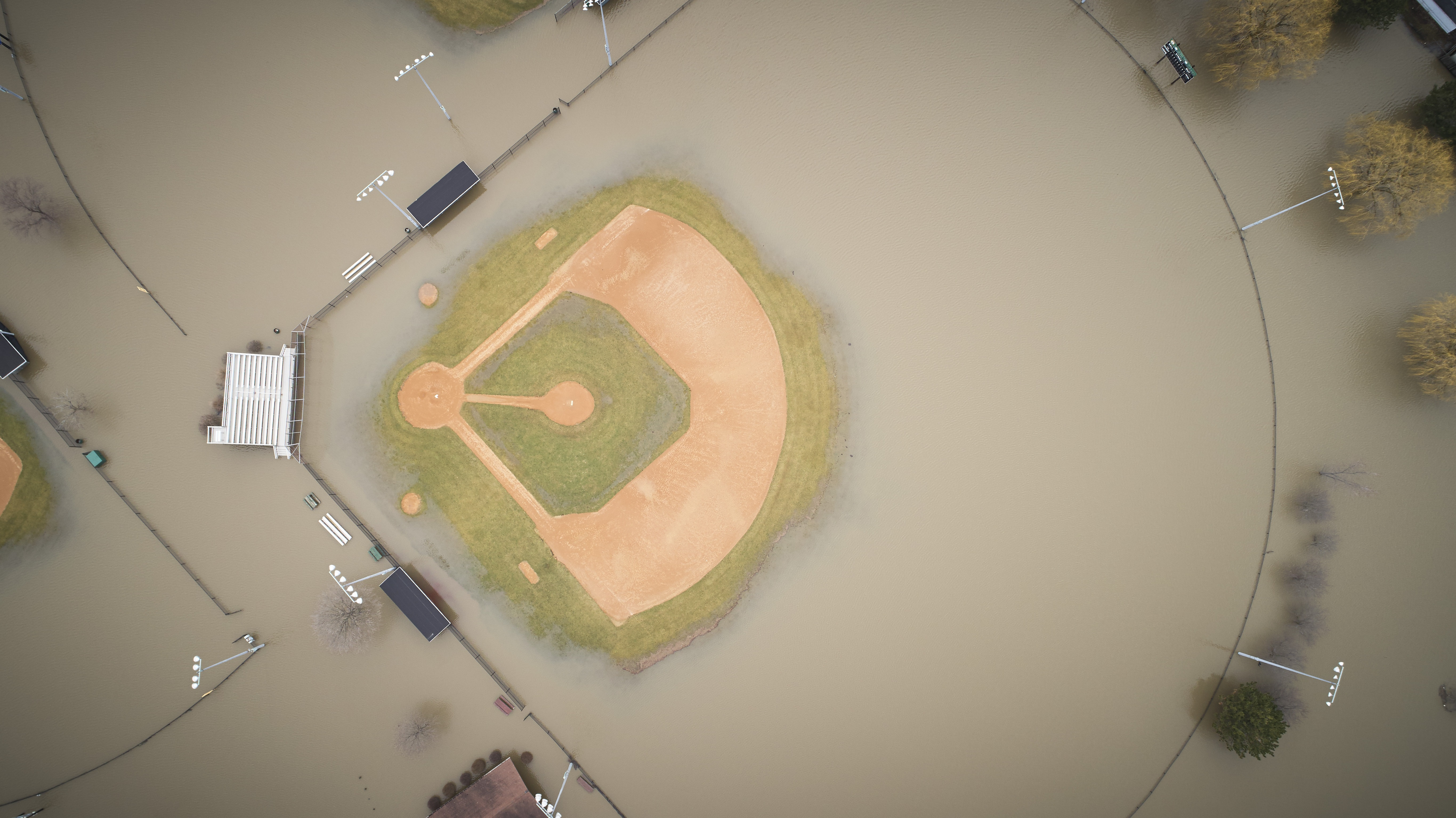 Flooded baseball field photo