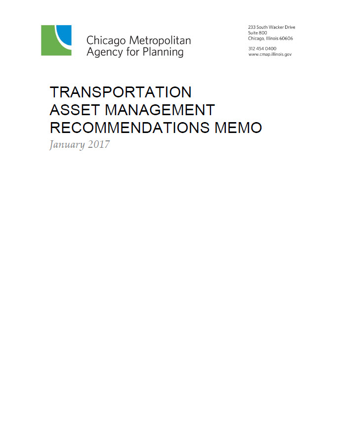 Text cover of the ON TO 2050 Transportation Asset Management Recommendations memo