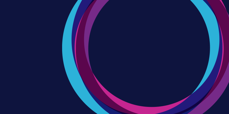 Dark blue background with three overlapping circles.