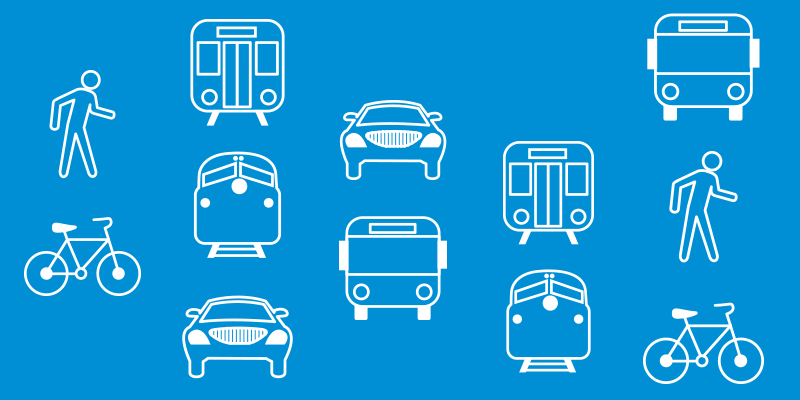Icons depicting transportation modes.