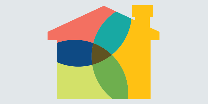 Silhouette of a house with three overlapping circles.