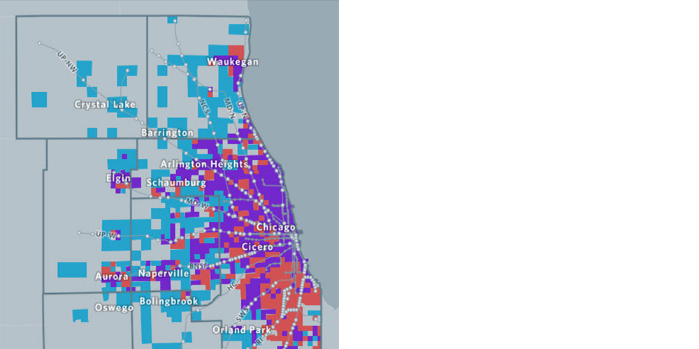 Transit availability and employment density local strategy map.