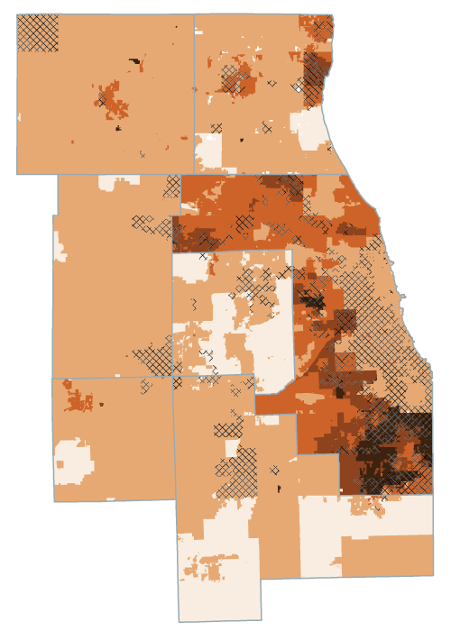 A map of effective composite property tax rates in the Chicago region.