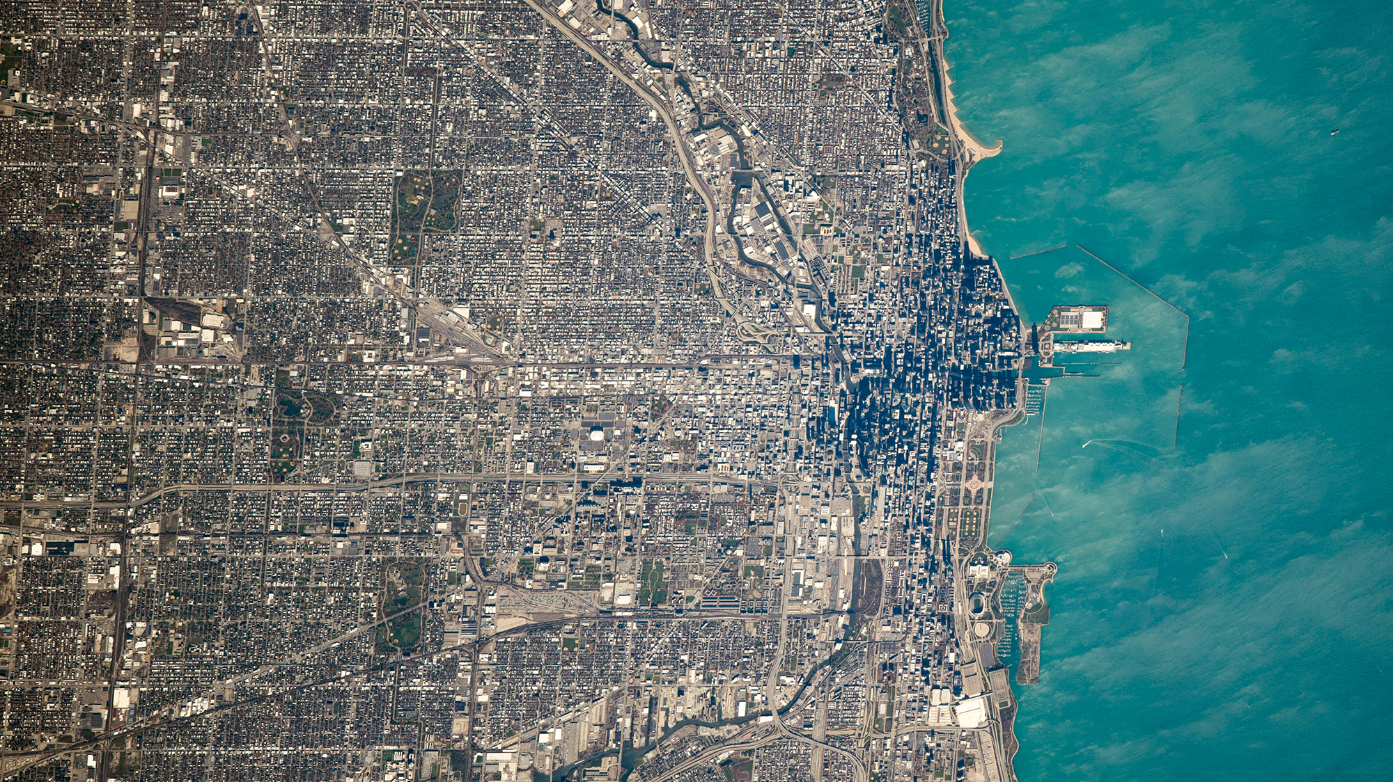 NASA image of the Chicago region from space.