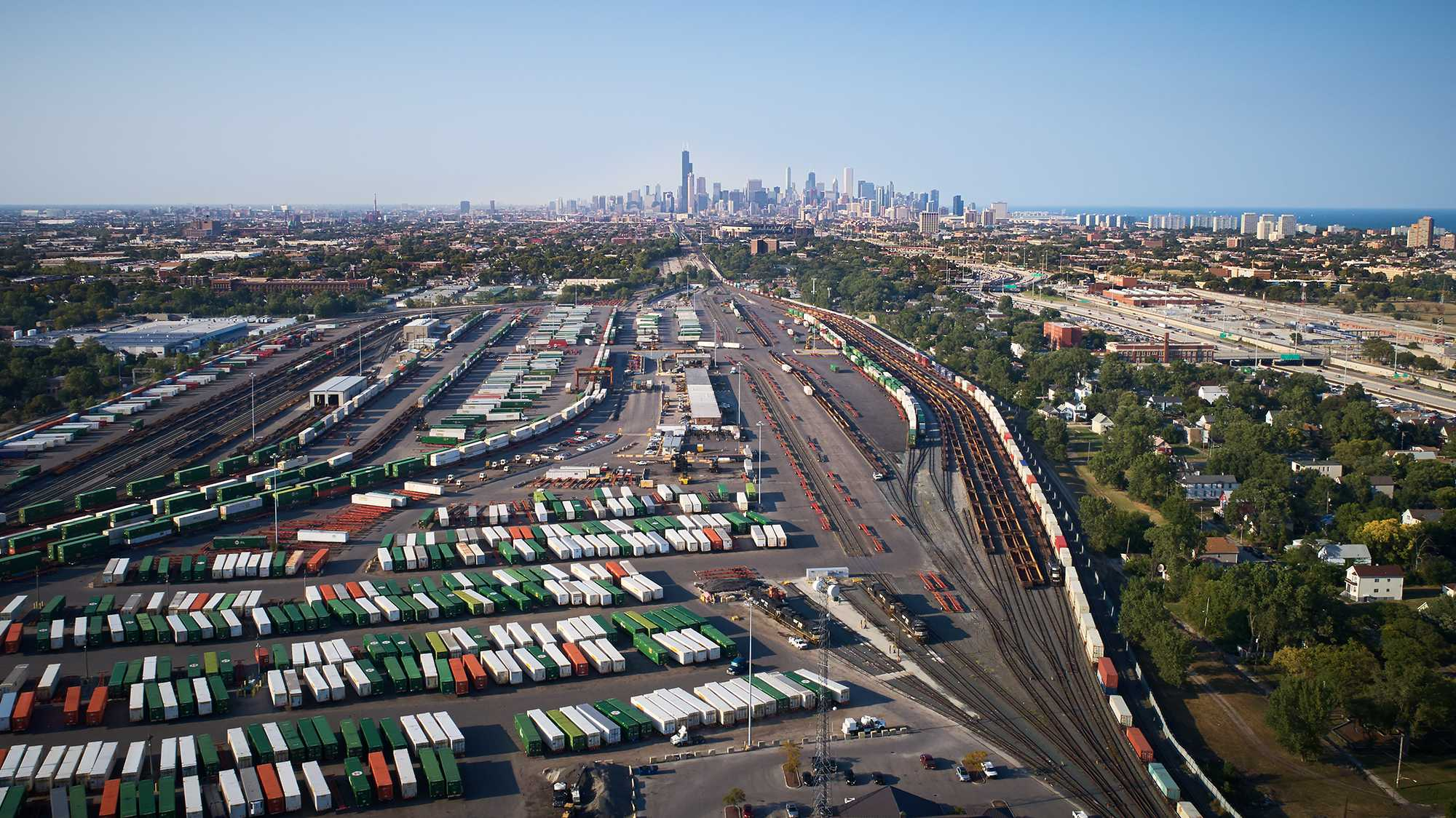Freight in the Chicago region from above.
