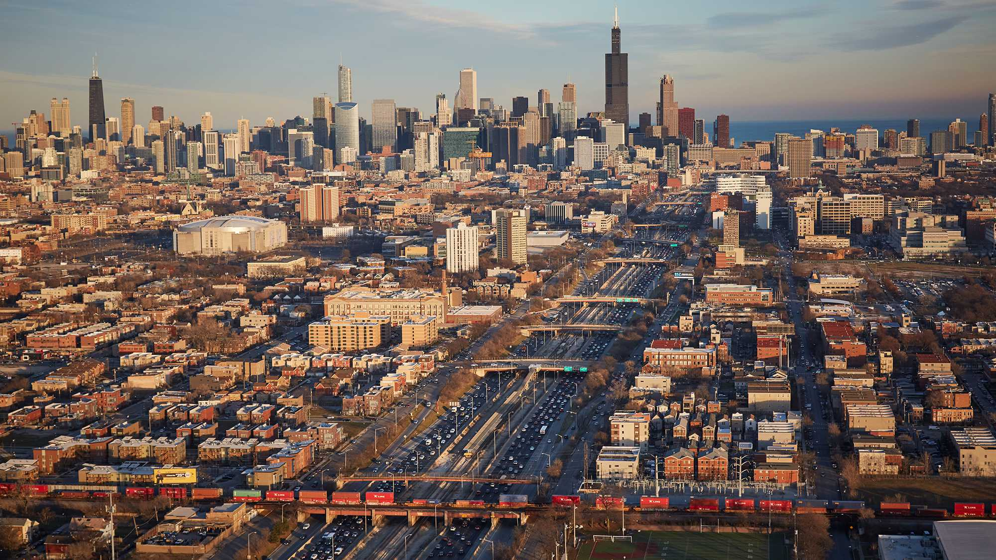 Chicago region transportation system from above.