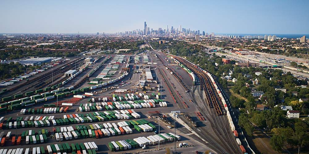 Clusters image, view of a Chicago freight yard from above.