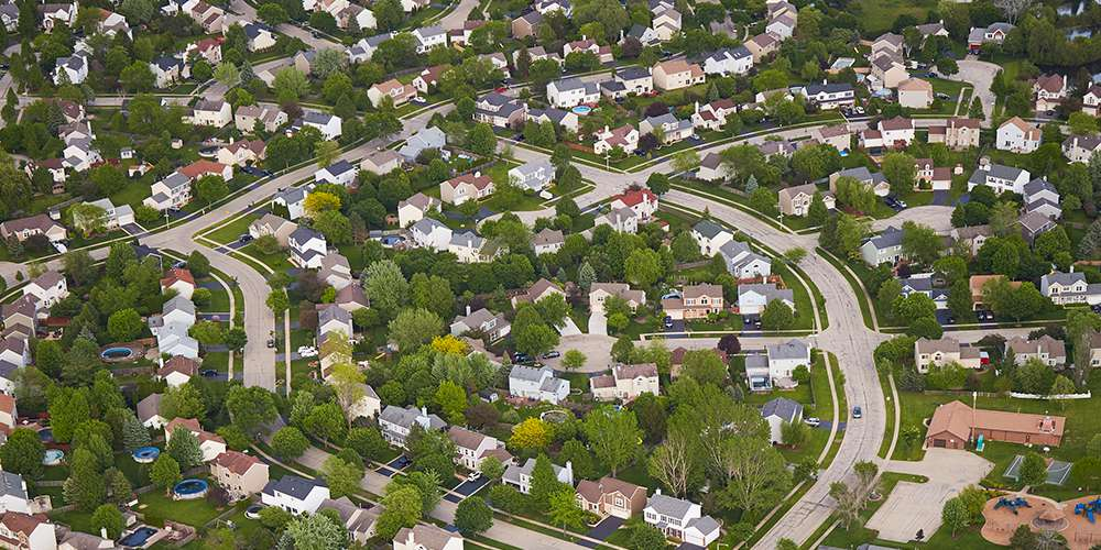 Overhead photo of suburban housing in McHenry County