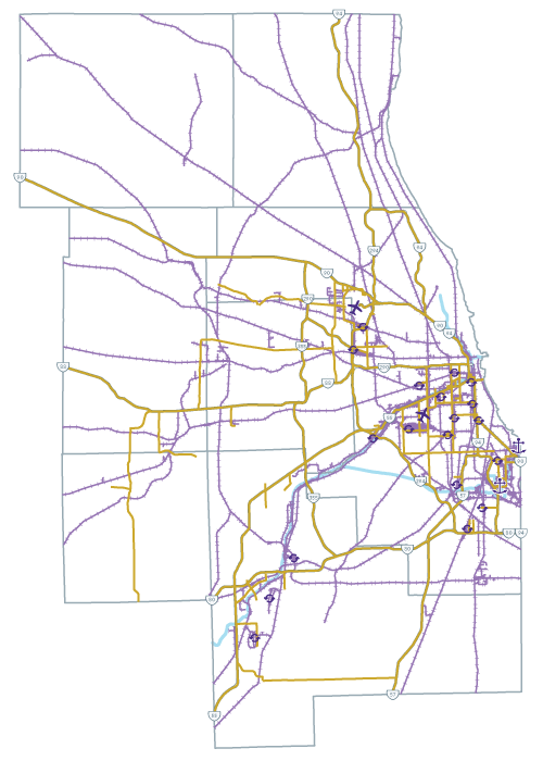 Chicago regional freight system map.
