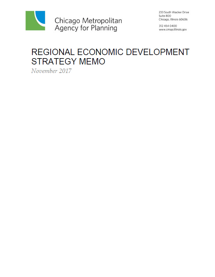 ON TO 2050 Economic Development Strategy Memo Cover